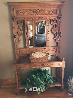 Rare Carved Oak Antique Hall Tree Late 1800s Early 1900s Dragon Sun
