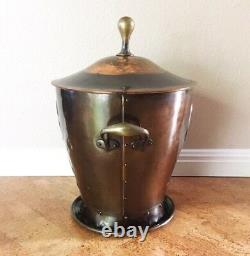Rare Copper & Brass Ruskin Tile Coal Scuttle / Bucket, Late 19th C Arts & Crafts