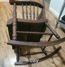 Rare Find Late 1800's Pressed Oak Antique Original Finish Rocking Chair