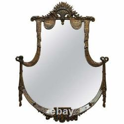 Rare Large Late 19th Century Giltwood Mirror French Shield Shape Acanthus Detail