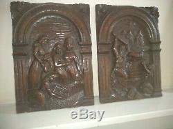 Rare Pair Late 16th Century German Carved Oak Panels Depicting Moses c1580-1600