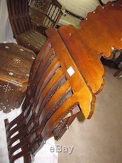 Rare Vintage Handcrafted 2 chairs & table Late 19th Mother of Pearl Wood Syrian