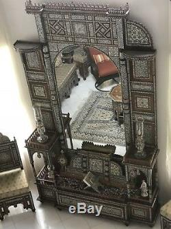 Rare Vintage Handcrafted Late 19th Mother of Pearl Inlaid Wood Syrian guest room