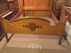 SALE LOCAL PICK-UP ONLY Antique Solid Oak & Walnut Double Bed Circa Late 1800s