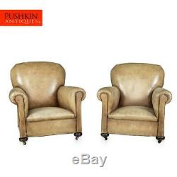 STUNNING LATE 19th CENTURY FRENCH PAIR OF LEATHER CLUB CHAIRS