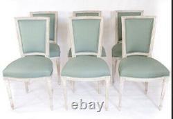 Set Of 6 LOUIS XVI chairs, France Late 19th Century. ORIGINAL PAINT