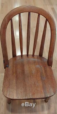 Set Of Six Antique Oak Chairs Federal Penal System Late 19th/Early 20th Century