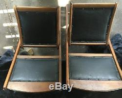 Set of 4 Late 19th/Early 20th Century Oil Cloth Campaign Folding Chairs