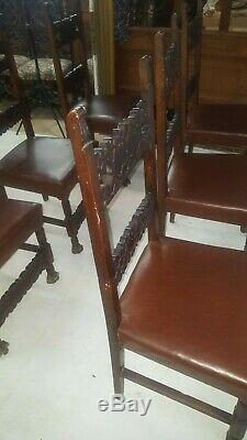 Set of 6 Antique Walnut Dining Chairs Italian late 1800's Farm Table Sidechairs