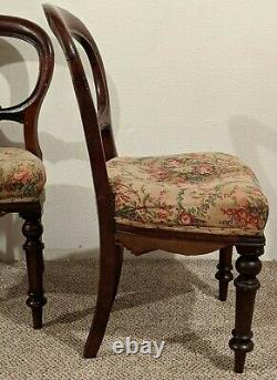 Set of 6 Victorian Balloon Back Dining Chairs For Repair, late 1800's