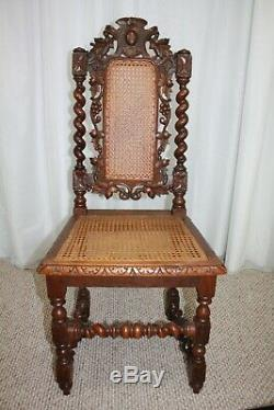 Set of Eight Barley Twist late 1900's dining chairs