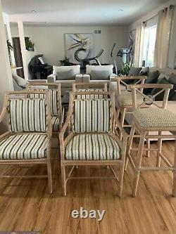 Set of Six McGuire Target Arm Chairs And Bar Stools, Circa Late 20th Century