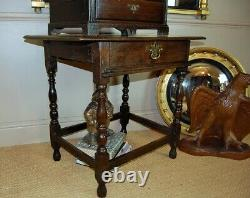 Sidetable Late C17th, Early C18th Single Drawer Oak Sidetable, Antique Table