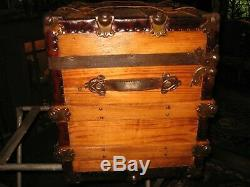 Small Antique Stagecoach Steamer Trunk Late 1800s Flat Top Chest Coffee Table
