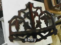 Solid Walnut Hand Carved Corner Shelf Late 1800's (SH23)