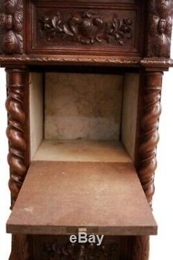 Solid oak French Hunt Night Stand dating from late 19th century with Marble top