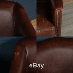 Stunning Late 20th Century Pair Of Dutch Dark Sheepskin Leather Club Chairs