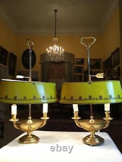 Stunning Late C20th Pair GiltMetal Empire Yellow Toleware Shade Bouillotte Lamps