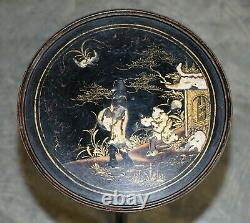 Stunning Late Victorian Chinoiserie Ebonised And Lacquered Antique Side Table