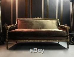 Stunning Louis XVI Style Reupolstered Silk Velvet Sofa Late 1800s