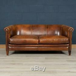 Superb Late 20th Century Dutch Two Seater Tan Leather Sofa
