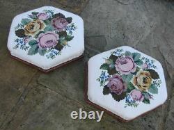 Superb Pair Of Late Victorian Walnut Hexagonal Footstools / Needlepoint Cover