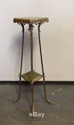 Tall 41.5 Art Nouveau Late 19th Century Brass & Green Onyx Marble Plant Stand