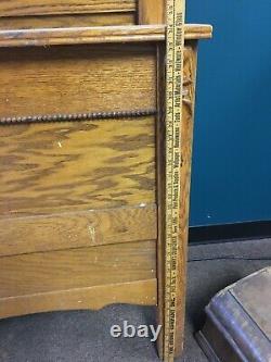 Victorian Art Deco Oak Dresser Headboard Footboard Carved Details Late 1800's