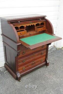 Victorian Eastlake Cylinder Top Late 1800s Secretary Desk 1993
