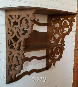 Victorian Handcrafted Fretwork Wood Curio Shelf Mahogany Dovetailed Late 1800s