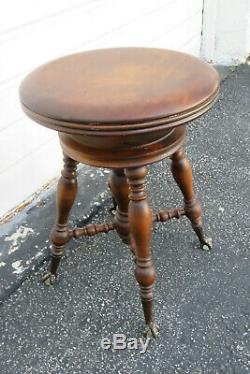Victorian Late 1800s Cherry Piano Bench Stool 9969