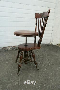 Victorian Late 1800s Claw Feet Piano Bench Stool Chair with Backrest 1013