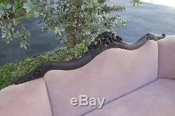 Victorian Late 1800s Hand Carved Flame Mahogany Sofa Couch 1433