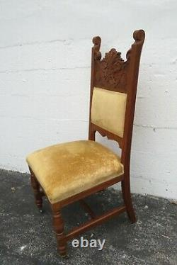 Victorian Late 1800s Solid Oak Carved Faces Set of Seven Dining Room Chairs 2176