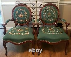 Victorian Louis XVI Style Rosewood Needlepoint Armchairs Late 19th Century