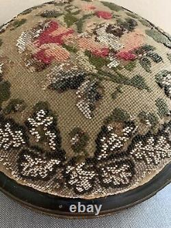 Victorian Needlepoint & Floral Beaded Round Foot Stool 11.5 Wide, Late 1800's