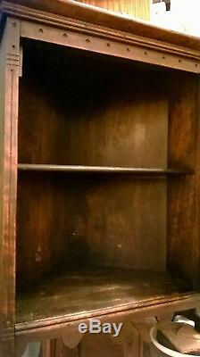 Victorian Walnut Corner Cabinet with Spoon Carved Doors Circa Late 1800's