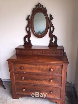 Victorian Walnut Dresser withMirror Late 1800s Original Condition