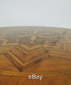 Vintage Antique Late 19th Century Inlaid Sorrento Tripod Table