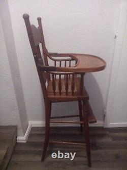 Vintage Antique Solid Oak Victorian High Chair Late 1800's Caned Seat