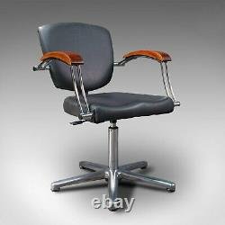Vintage Desk Chair, English, Industrial, Beech, Office Seat, Late 20th, C. 1980