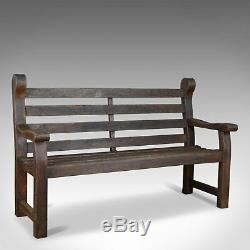 Vintage Garden Bench, English, Hardwood, Seat, Late 20th Century, Seats 3 or 4