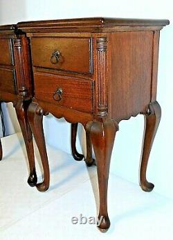 Vintage KLING MAHOGANY NIGHTSTANDS, End Tables, Pair, Two Drawer, Late 1930s-40s