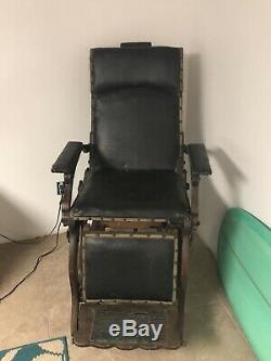Vintage Late 1800s Barber Dental Chair Oak Cast Iron Antique