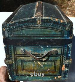 Vintage Late Victorian Blue Stenciled Doll Trunk c. 1880's, Exceptional