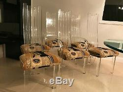 Vintage Set of 6 Hill Manufacturing Lucite Dining Chairs Late 1970's