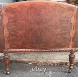 Vintage late 19th century antique French walnut twin bed