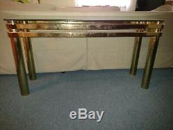 Vintage late 70s early 80s Glass and Brass Parsons Table