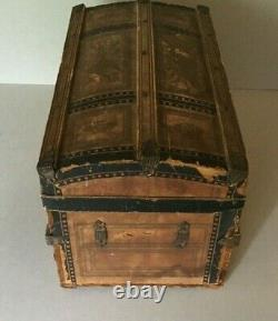Wonderful Antique Late 19th Century Doll Sized Fitted Travel Steamer Trunk
